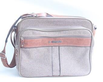 Vintage Samsonite Soft Brown Tweed and Leather Overnight Bag Luggage
