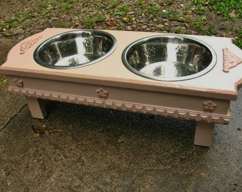 Medium Size Elevated  Dog Bowl Feeder, Dusty Rosewood, 2 Two Quart Stainless Bowls  Cottage Chic Pet Feeder Made to Order