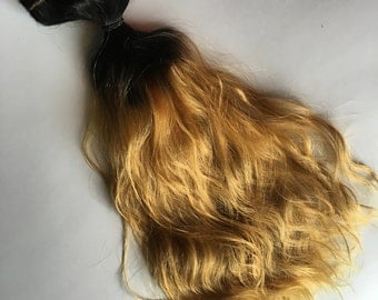 Ombre Hair Extensions Dark Brown Black to Light Blonde Clip in 100% Human Hair Remy Full Set Double Wefted Dip Dye Fade