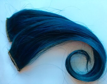 12-14 inch 100% Human Hair Extensions Dark Turquoise Teal Blue Clip in or Tape style