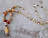 Fire agate silver statement necklace