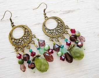 Bohemian statement earrings, antique gold bohemian long gypsy hippie chandelier earrings with jade, crystal, pearl and glass