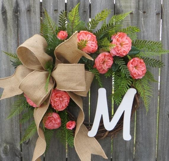 Spring Wreath, Spring / Summer Wreath, Coral Pink Wreath, Monogram Wreath, Wreath with Letter, Wedding Wreath, Burlap Wreath