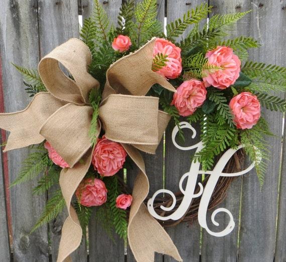 Spring Wedding Wreath, Spring Summer Home Decor Wreath, Coral Pink and Burlap Wreath, Summer Wedding, Elegant Burlap Wreath, Horn's Handmade