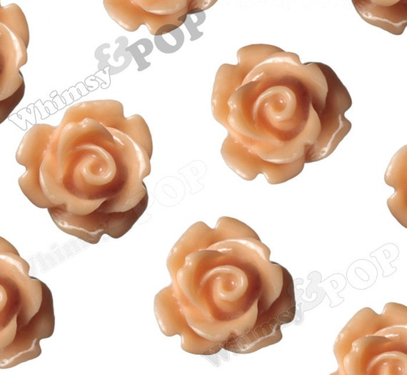 Light Coral Rose Cabochons, Flower Cabochons, Flower Cabs, 10mm Rose Cabochons, Flat Back Roses, 10mm x 6mm (R1-071)