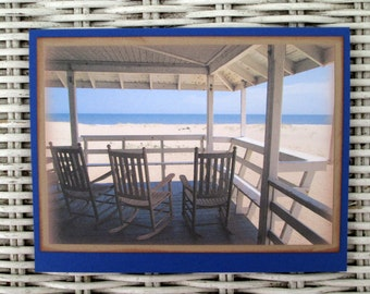 Beach House Porch with Rocking Chairs Card Set, Old Nags Head Cottage Cards, Outer Banks Cards