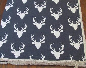 """Minky baby blanket- 30"""" x 36""""- Buck minky blanket- Buck minky blanket-Crib blanket Blanket-Toddler Buck Minky blanket-Baby blanket-baby gift"""
