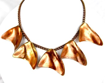 Copper Coated Brass Freeform Charm Necklace