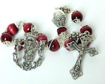 Unbreakable single Decade Rosary of The Crowned Virgin Mary and Christ Child