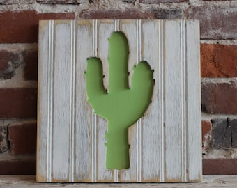 Cactus, Wooden Wall Art, Distressed Antique White and Bright Green Bead Board, Southwestern Wall Art