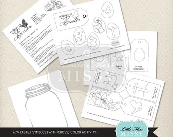 "Easter Symbols with Cross ""Color Me"" Activity & TALK, DIY Printable file"