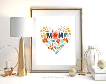 Mothers Day Floral Heart Print Printable, a Bunch of Love for Mom, Instant Download by Little Miss Missy
