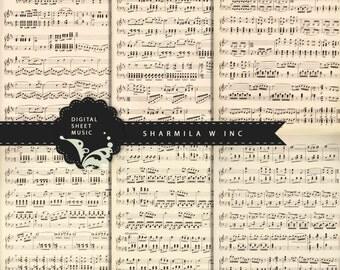 Digital Vintage Music Sheets - 6 LARGE 29 x 22cm