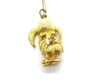 Dog Pendant Necklace.  Poodle, Schnauzer, Mutt. Topaz Rhinestone Accents. Gold Tone 3D Animal, Gold Fill Chain. Vintage 1960s Jewelry