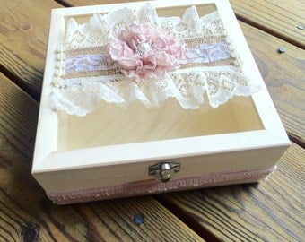 Burlap Blush Card Box, Wedding Card Box,  Blush Burlap Box, Vintage Pink Box Shabby Chic Keepsake Box, Lace Burlap Box, Glass Wood Box