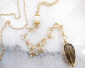 Vintage Milk Glass Rosary Bead with Moonstone and Smokey Quartz Y Necklace