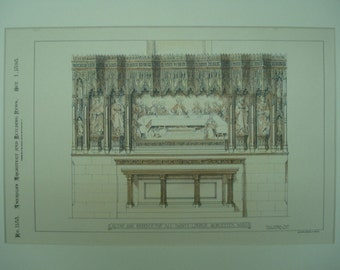 Altar, Reredos, All Saints Church, Worcester, Massachusetts, 1898, Henry Vaughan, Architects. Hand Colored, Original Plan, Architecture