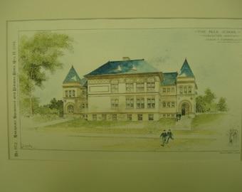 Peck School, Worcester, Massachusetts, 1894, George Clemence, Architects. Hand Colored, Original Plan, Architecture, Vintage, Antique