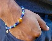 Men's Spiritual Healing, Protection, Friendship Bracelet, Semi Precious Moss Opal, Lapis, Tibetan Amber Silver Capped , Hematites, Bali Bead