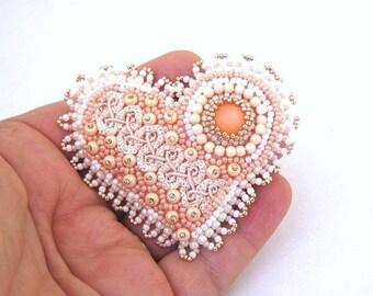 Christmas in July ON SALE Heart brooch, Beaded pin, Bead embroidered brooch, Beaded brooch, Gifting ideas