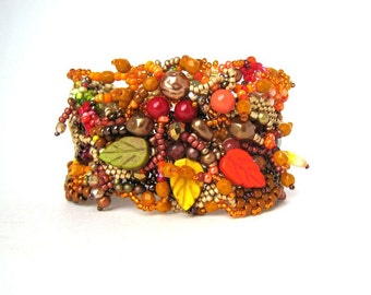 Gift for women, Beaded Bracelet cuff, Beaded jewelry, Colorful bracelet, Boho bracelet cuff, Autumn colors inspired