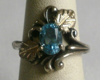 Black Hills Sterling Silver Blue Stone Ring-Size 5 1/2