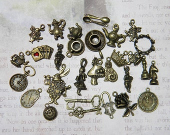 29 Alice in WONDERLAND Mixed charms Lot White RABBIT Pocket Watch Cheshire Cat Teapot Teacup Key Caterpillar Mushroom Bronze finish