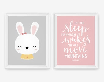 Cute Bunny Art, Let Her Sleep, For when she wakes, nursery wall art, baby girl decor, nursery art print, Baby room quote - set of 2