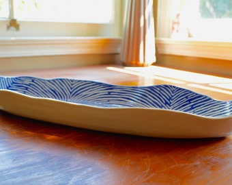 Blue and White Oblong Dish