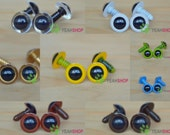 15mm Colorful Safety Eyes Plastic Doll Eyes - Clear / White / Golden / Yellow / Grass Green / Blue / Brown / Coffee