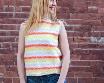 Vintage Women's Size Medium Crochet Sleeveless Top 1960's