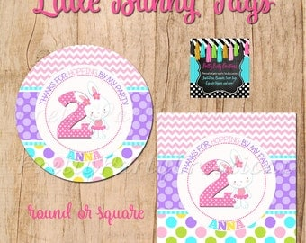 BUNNY  favor tags - 2, 2.5 or 3 inch - YOU Print