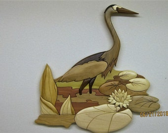 Great Blue Heron on lily patch,Intarsia wood carved by Rakowoods, unique cabin gift, den wall decor,personal gift, birthday , house warming