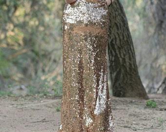 Peach Maxi - Gorgeous high quality sequins - Long sequined skirt - S, M, L, XL