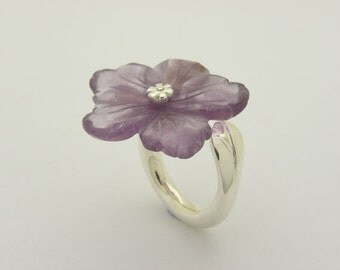 flower amethyst silver ring