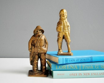 Pair of Heavy Vintage Brass Fisherman or Sailor Figurines or Statuettes