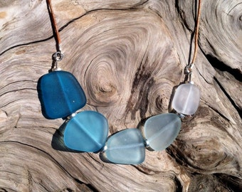 Ombre Blue Sea Glass and Leather Necklace