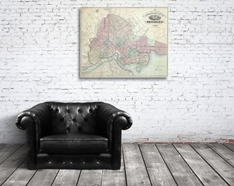 Print of Antique Map of Brooklyn, New York on Photo Paper Matte Paper or Stretched Canvas