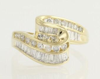 Diamond Bypass Ring - 14k Yellow & White Gold Baguette Cut 1.00ctw N1355