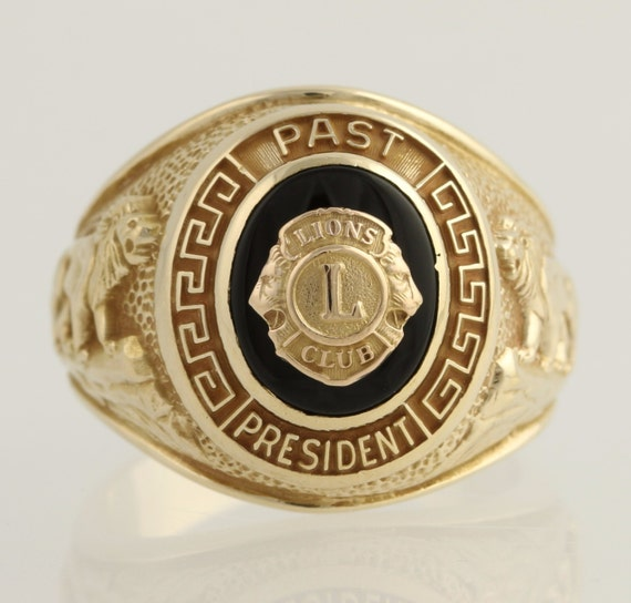Lions Club Past President Ring 10k Yellow Gold Genuine Onyx