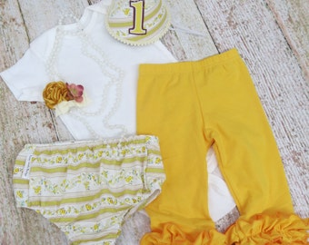 Baby Girls First Birthday Party Pack with Pants Detailed Necklace Diaper Cover & Party Hat in Vintage Yellow Floral