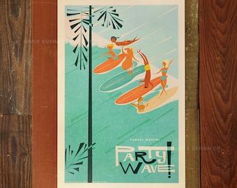 Canoes Waikiki Party Wave - 12 x 18 Retro Hawaii Travel Print