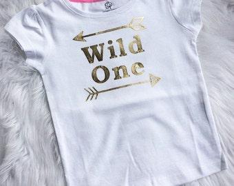 girls top/t-shirt.Girls clothing.gold metallic,Mirror vinyl top.Wild One.Aztec.Girls tees.Gold clothing.Kids fashion.Girls gypsy