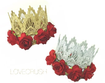 Ready to Ship    Sienna with Red Roses    Gold or Silver lace crown headband    Valentines