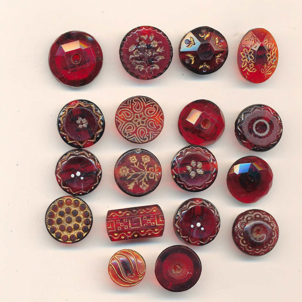 18 Antique Ruby Red Glass Buttons ca. 1870's