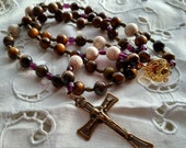 Rosary in Wood, Wooden Rosary, Simple Rosary, Rosary in Brown