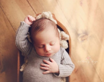 Newborn Gray Long Sleeve Romper, baby boy, unisex, bodysuit, tieback, sweater knit, photography prop, onesie