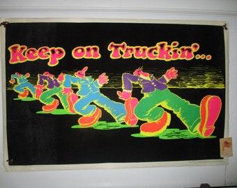"Rare ""Keep on Truckin'"" Original Flocked Blacklight Poster"