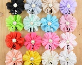 Set of 30 chiffon flower, chiffon flower wholesale Flowers-Fabric Flowers-Chiffon Frayed Flower You Choose Colors-Wholesale Fabric Flower