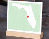 """FLORIDA Hand Painted Desk display - Office decor - 6""""x 6"""", Bookshelf display, Going Away gift for Family and Best friends BFF gift"""